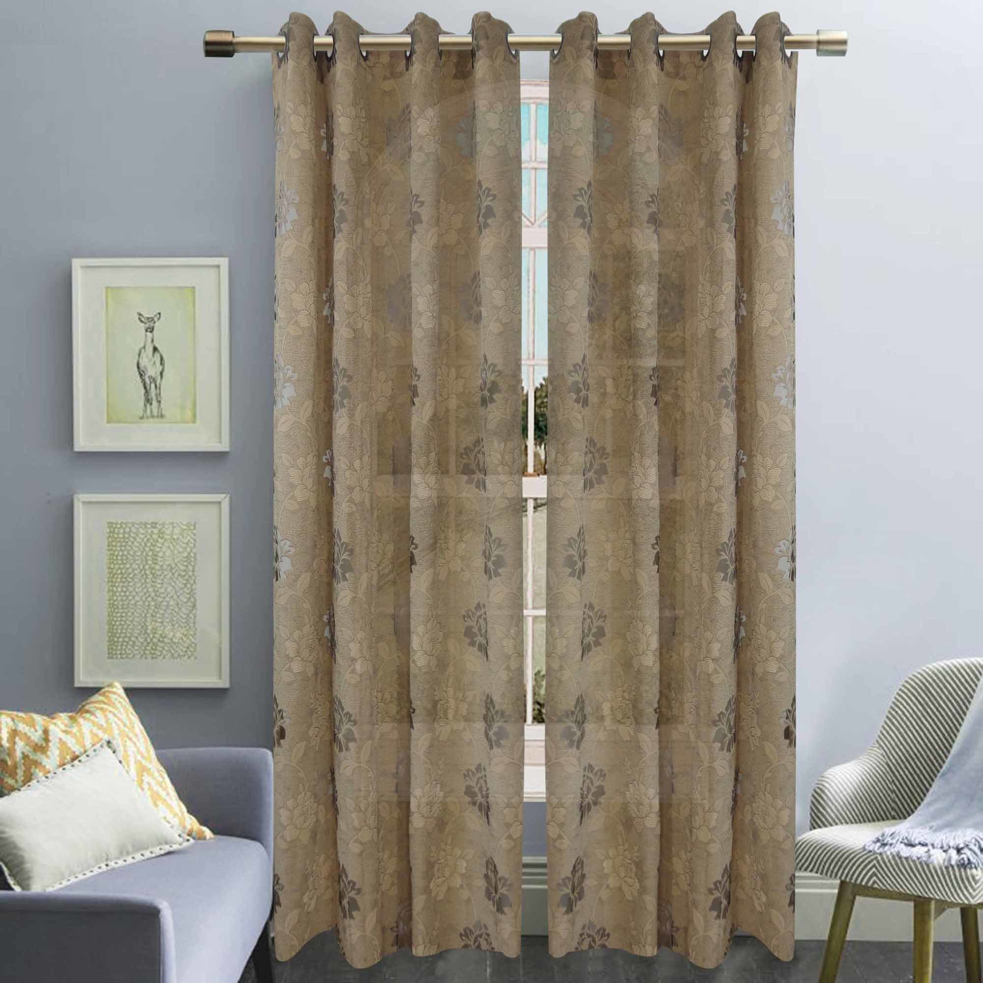 Jacquard Sheer Grommet Panel Window Curtain (HR14WT082)