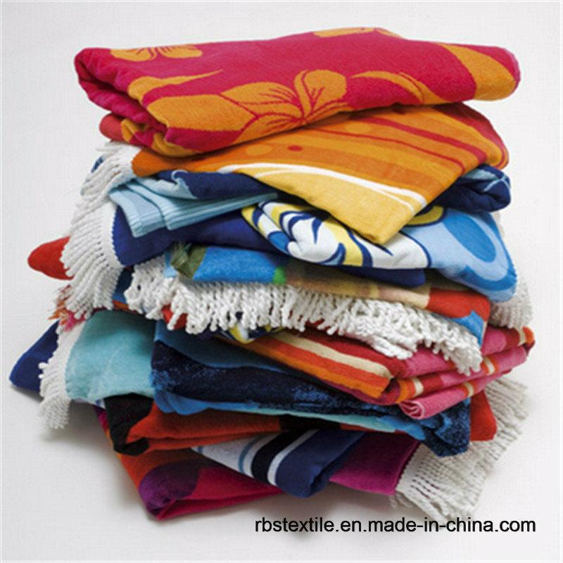 Custom Made Cotton Jacquard Velour Beach Towel