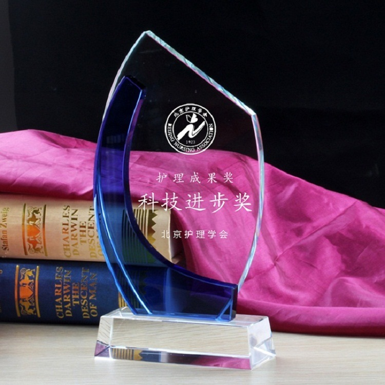 Sailing Shape Sport Crystal Trophy New Design Crystal Glass Awards Gift