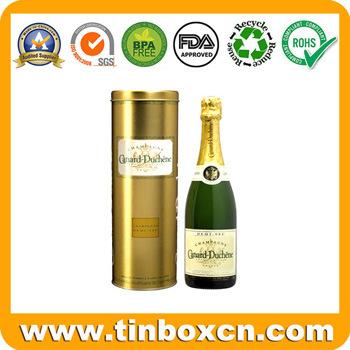 Round Whisky Tin Box, Vodka Tin Can, Wine Tins