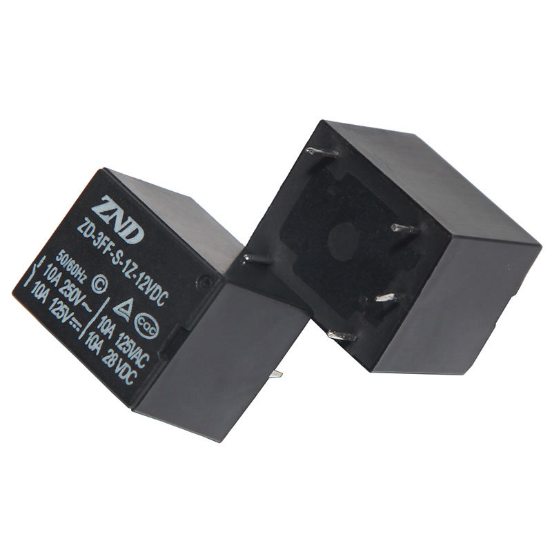 3FF (T73) 10A 12V Miniature Power Relay Black Cover Electromagnetic Relay