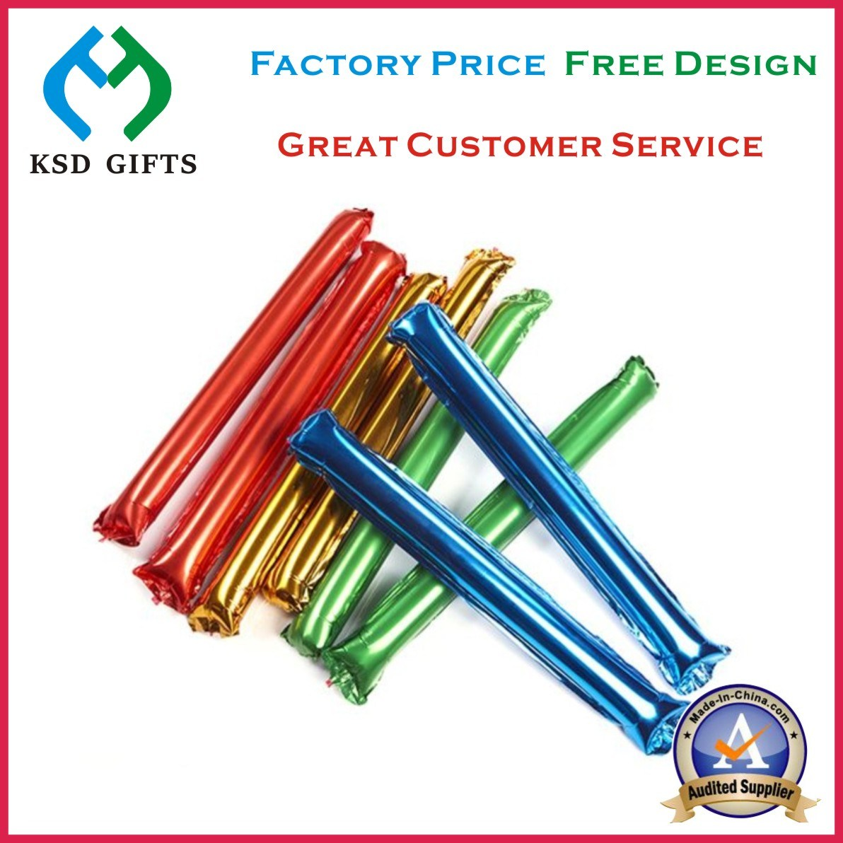 Promotional Balloon Stick, Inflatable Cheering Boom Sticks