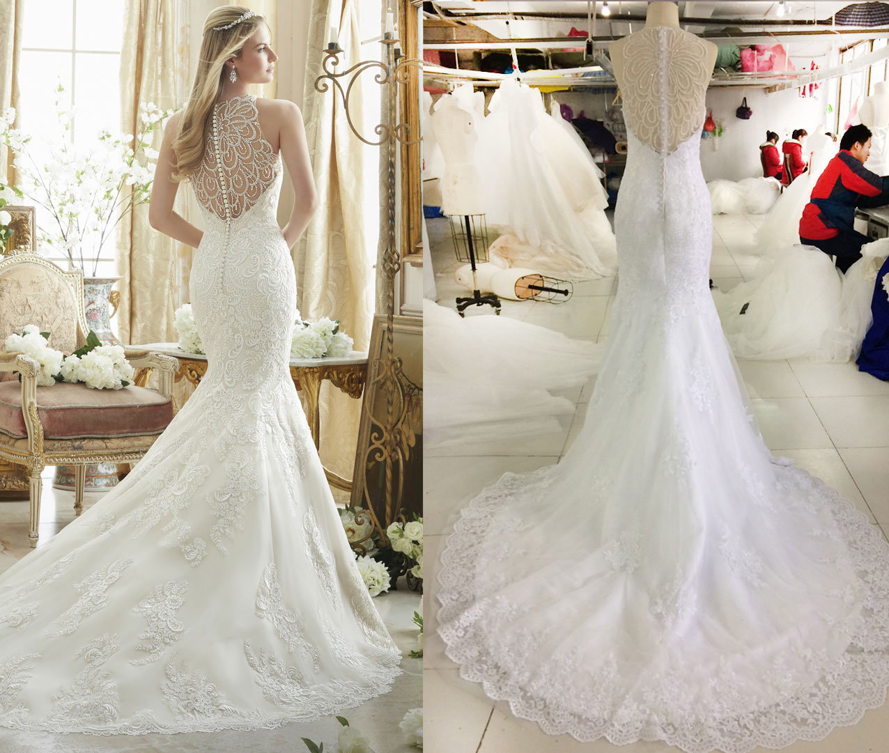 Complex Beading Pattern in Back Wedding Gown
