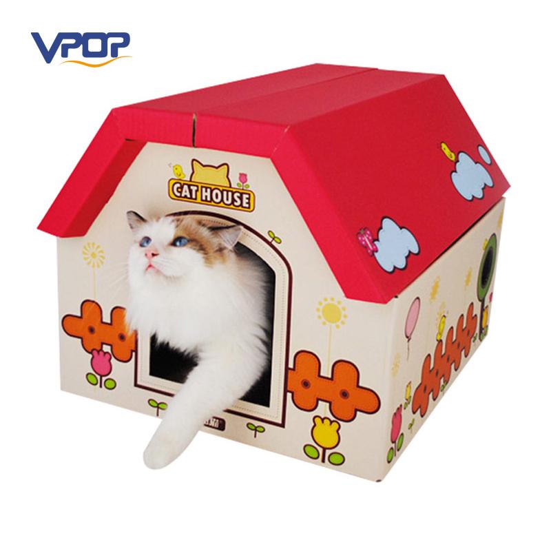 Lovely Cardboard Pet House with Cat Scratch Board Inside