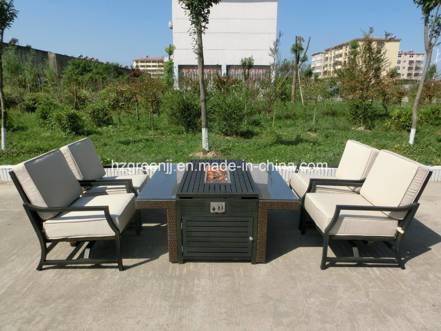 5 Pieces Gas Fire Pit with Swing Chair Wicker Furniture