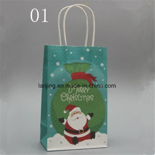 Bw213 fashion Christmas Paper Gift Bag with Handle