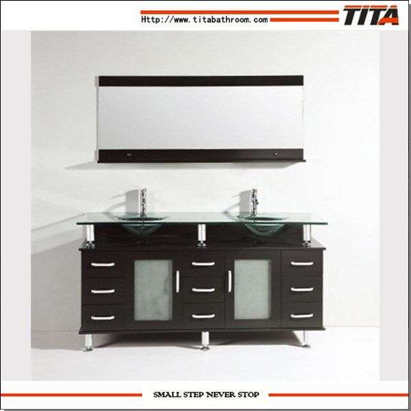 Large Chinese Bathroom Vanity Cabinet Glass Basin Furniture