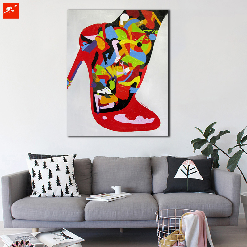 New Modern High Heel Red Fashion Canvas Oil Painting