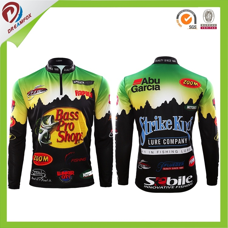 Breathable Custom Sublimation Design Custom Tournament Fishing Jerseys