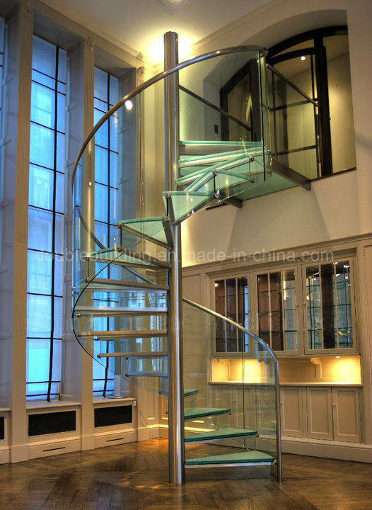 Glass Spiral Staircase with Stainless Steel Raillling