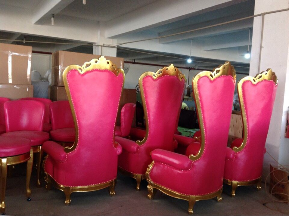 Hotel Furniture Antique King/Queen Chair with High Back Dining Chair Throne Sofa