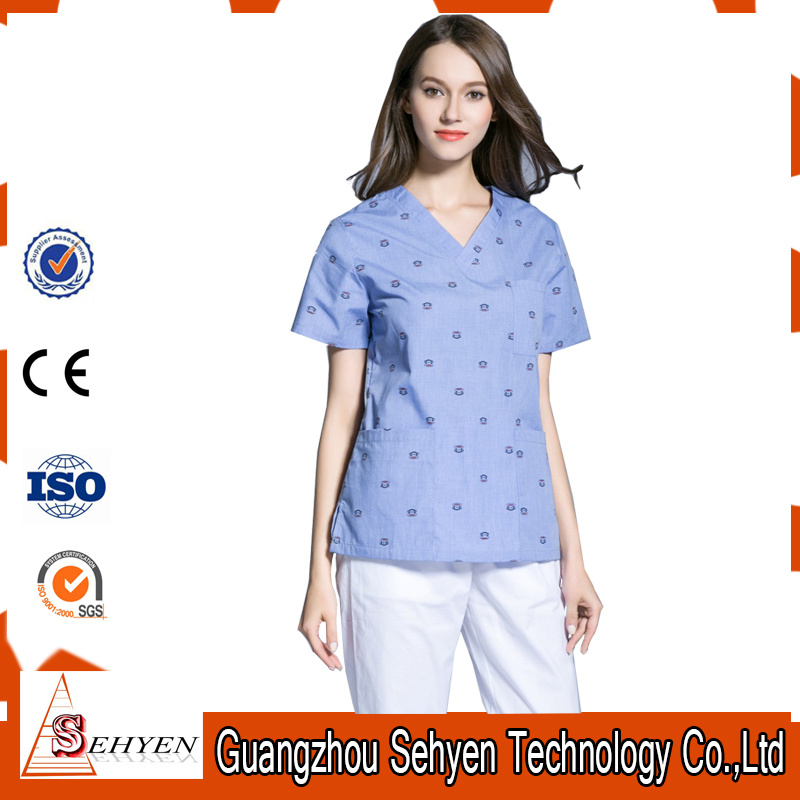 Unisex Scrubs Top &Bottom Medical Nursing Uniform of Cotton