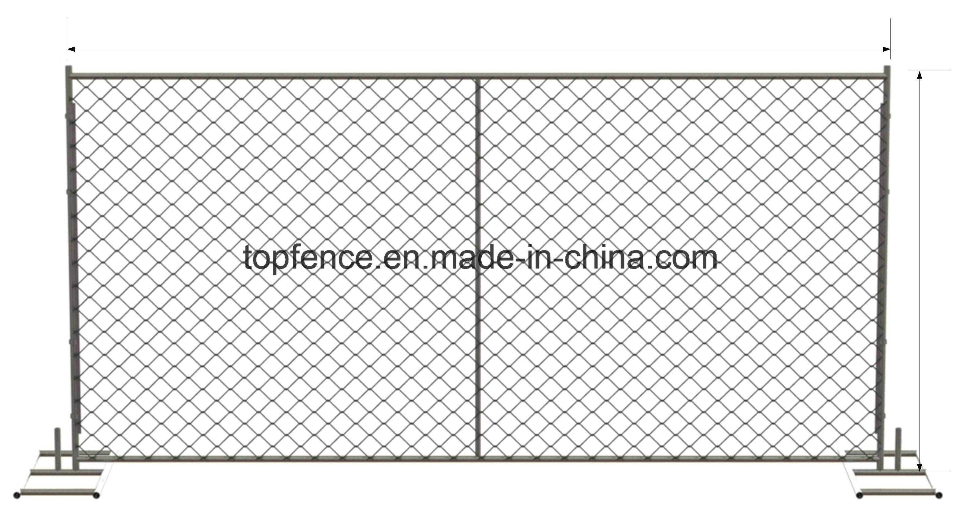 Chain Link Temporary Fencing Panels 6FT X 12FT, 6FT X 14FT, 8FT X 14FT Chain Mesh Temp Fence Panels for Sale
