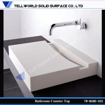 Unique Design High Gloss Corian Solid Surface Bathroom Furniture, Wash Basin Design