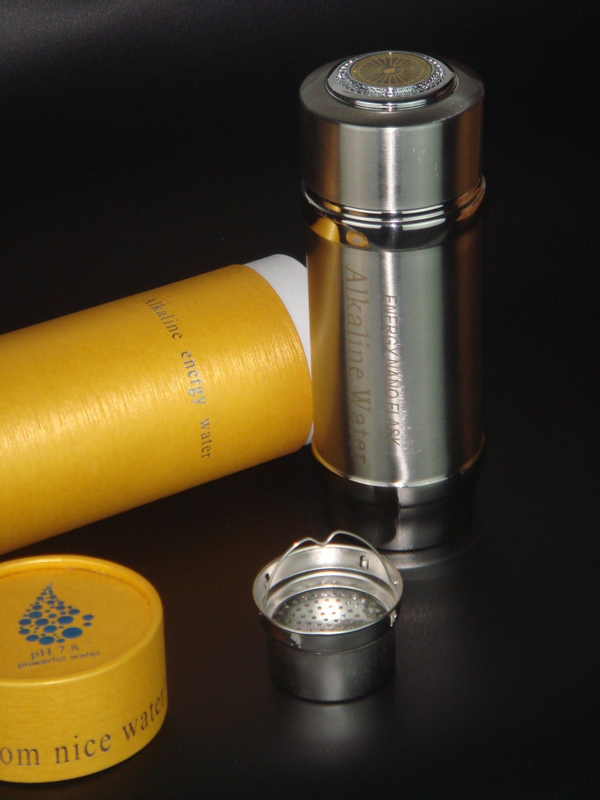 304stainless Steel Alkaline Water Flask with Thermos Function and Nano Energy Filter Replacement