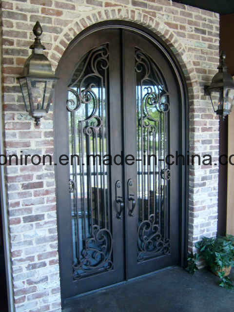 Full Round Top Security Iron Entry Doors for House