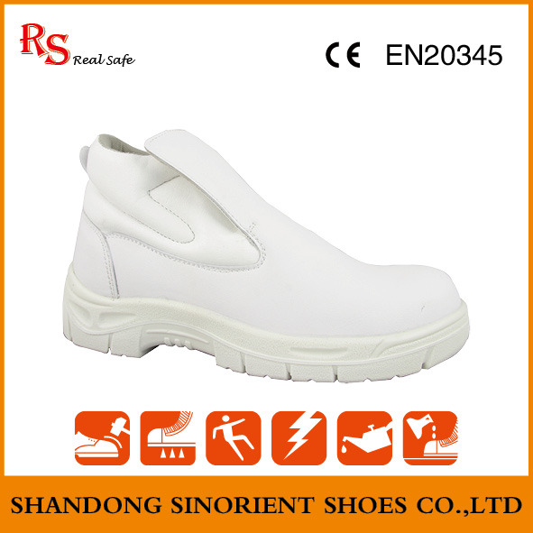 White Fiber Leather Steel Toe Cleanroom Safety Shoes Snm601