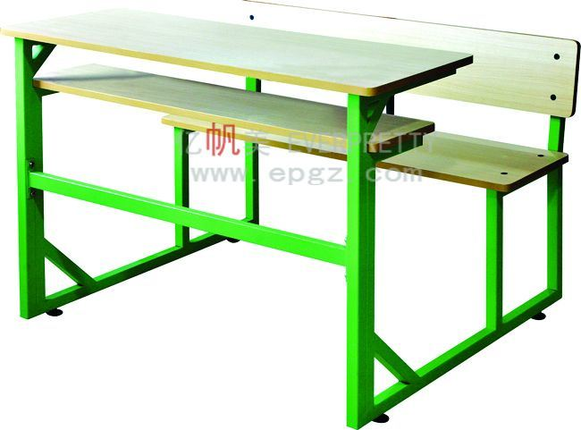 School Wooden Green Color Student Double Desk with Bench