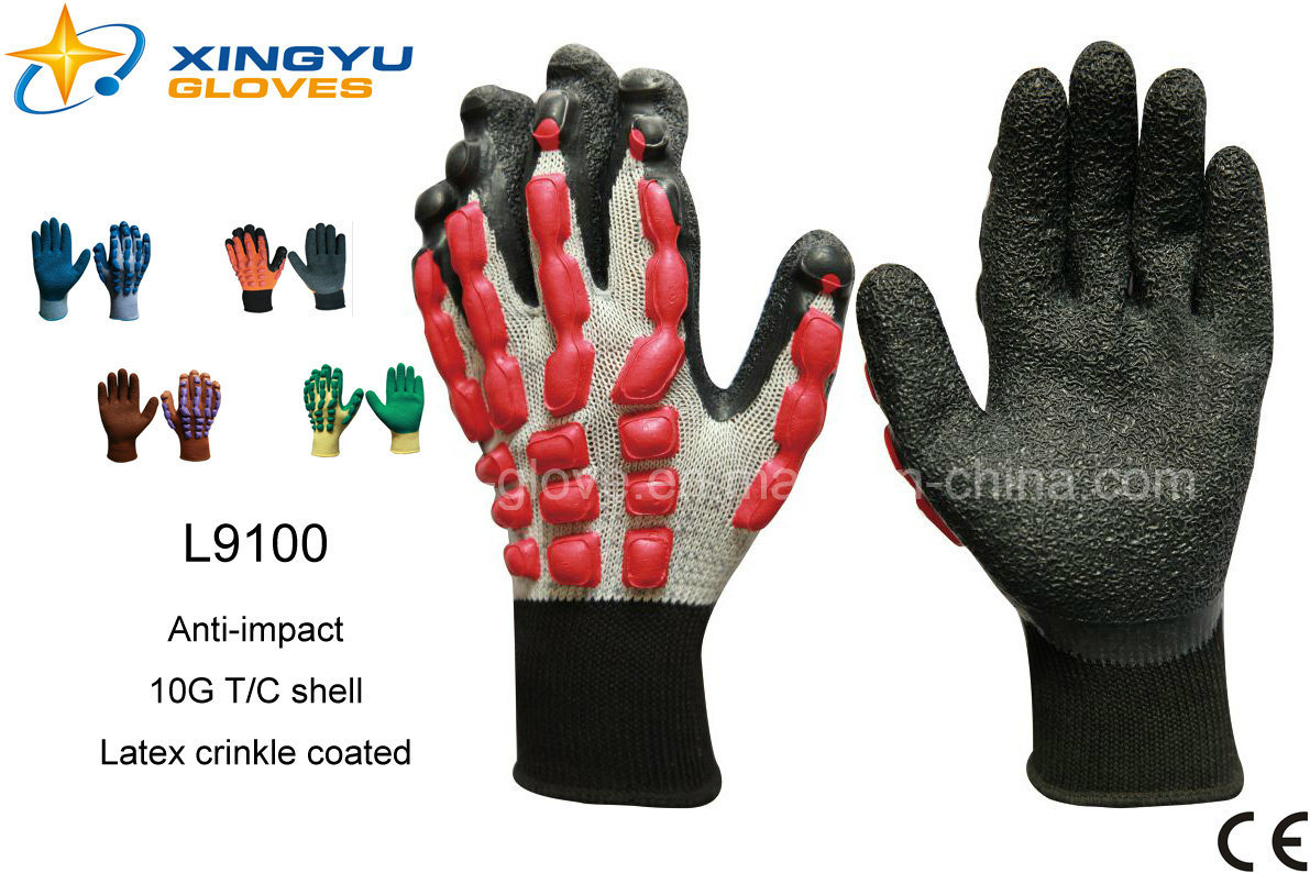 T/C Shell Crinkle Latex Coated Safety Work Gloves (L9100)
