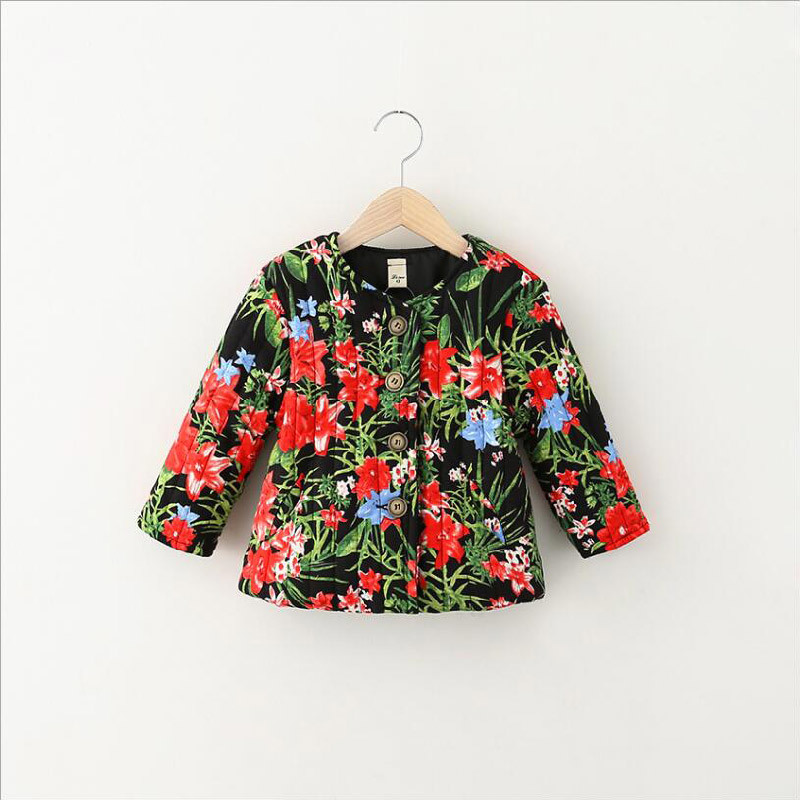 Flower Printed Girl Cotton Coat for Kid Clothes