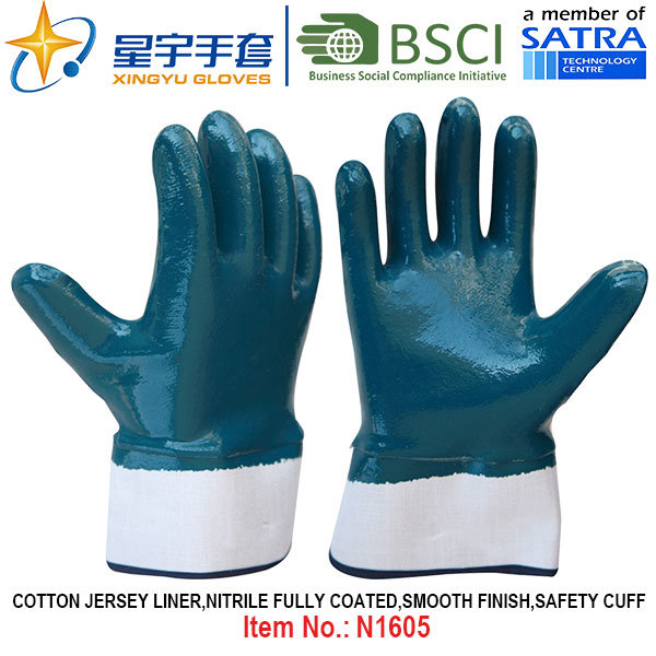 Cotton Jersey Shell Nitrile Coated Safety Work Gloves (N1605)