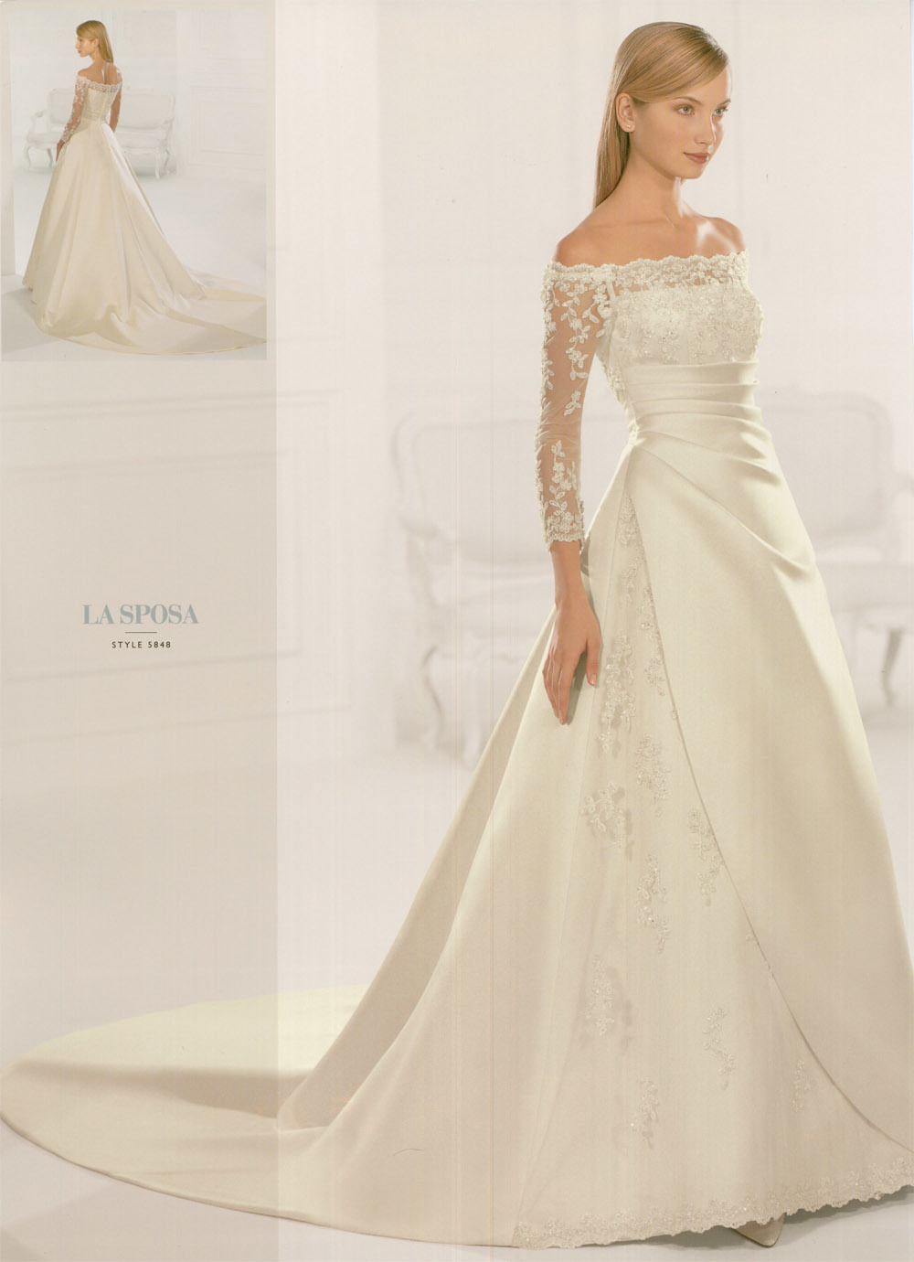 China a line wedding dress with sleeves hsa1001 china for Lace sleeve wedding dresses