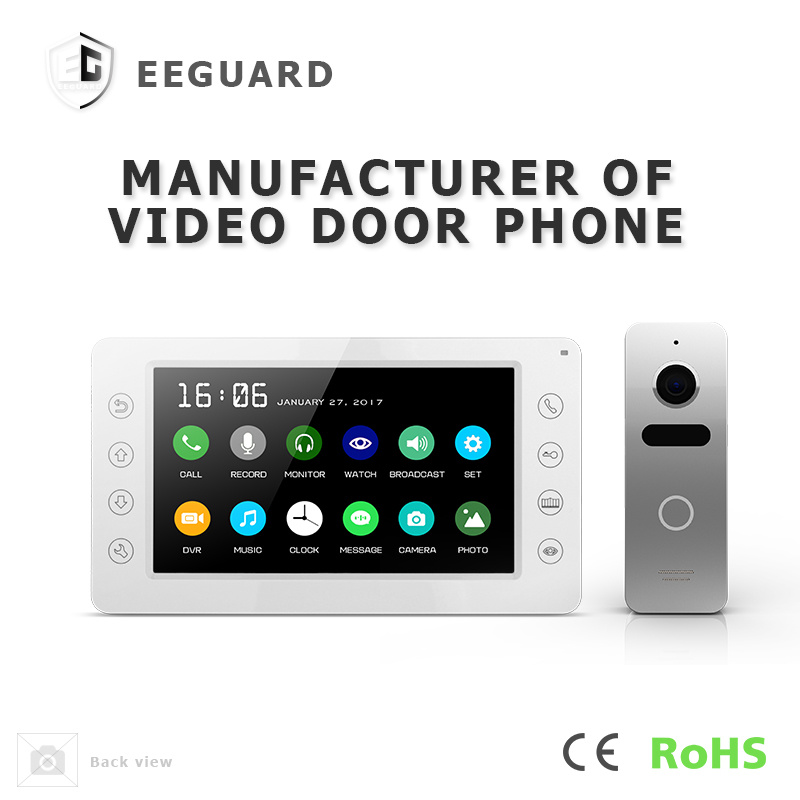 Home Security Interphone 7 Inches Video Doorphone with Memory