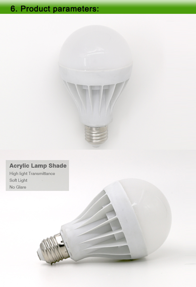 Rechargeable White Lamp Bulb AC/DC LED Outdoor Emergency Camp Tent Light 7W Rechargeable LED Emergency Bulb B22