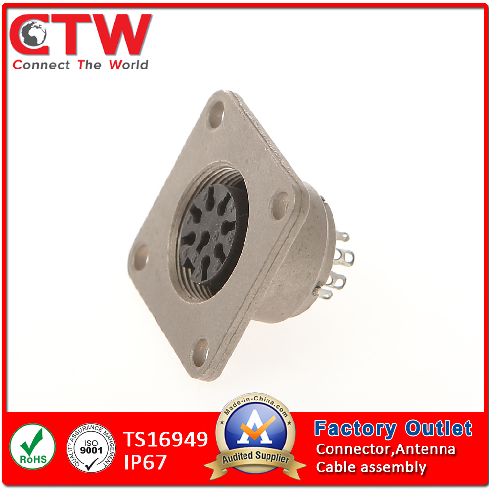 M16 Square Socket Female Receptacle Flange Mounting Connector