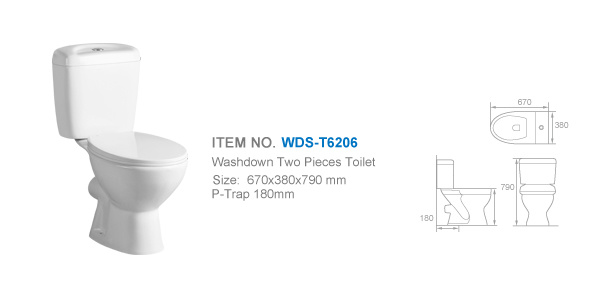 Weidansi Ceramic Wash Down P-Trap Two Pieces Toilet (WDS-T6206)