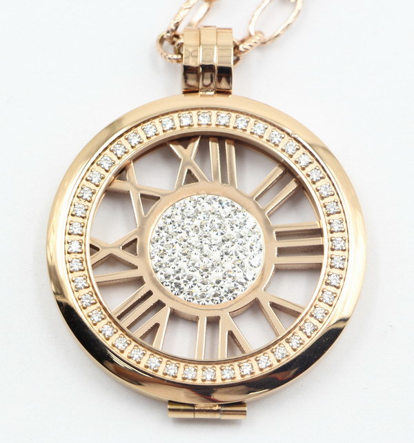 High-End Fashion 316L Stainless Steel Locket Pendant Jewelry with Prong Setting Stones