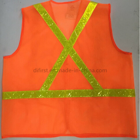 Hi-Vis Safety Vest with Reflective Cross Tape (DFV1074)