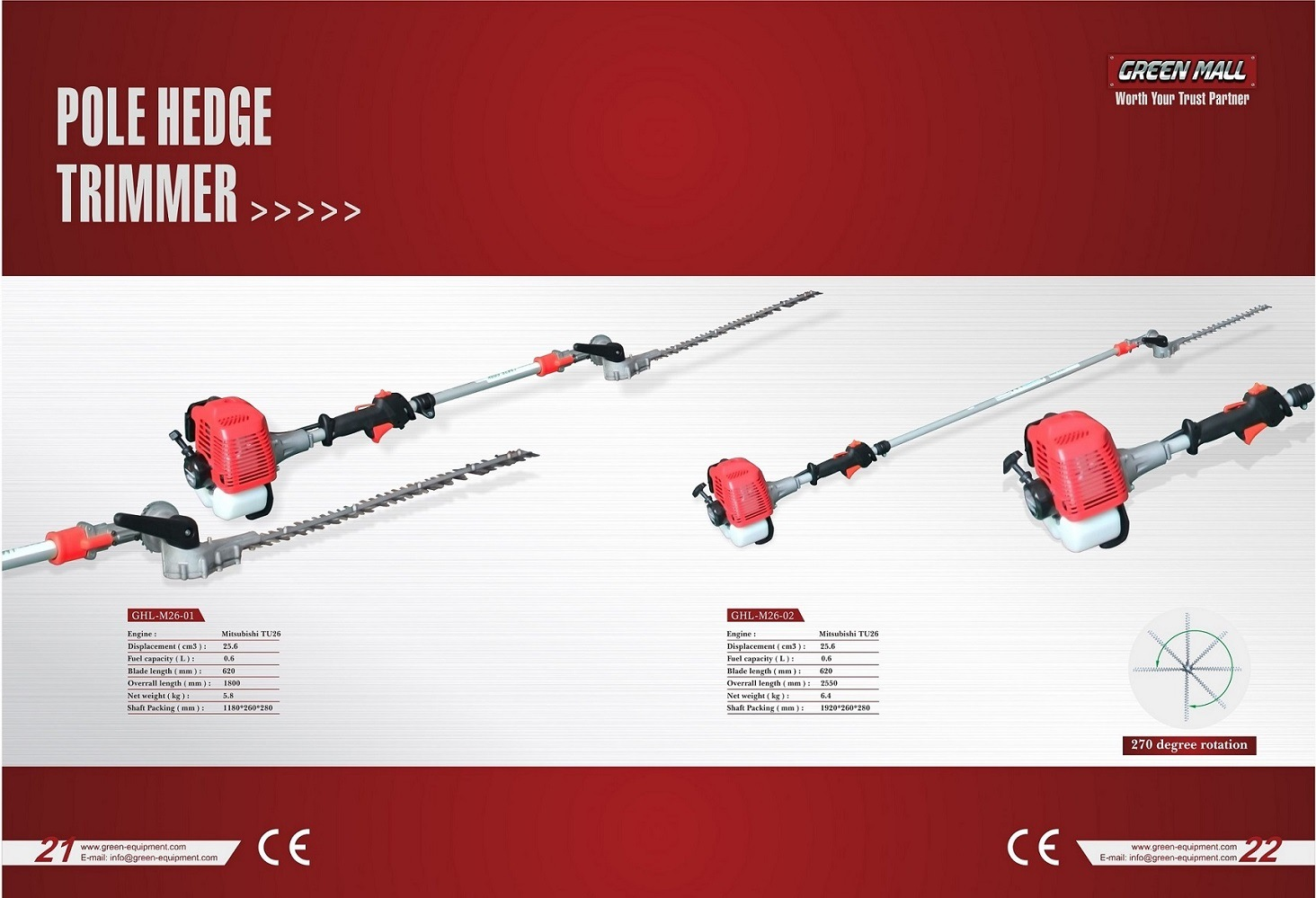 Pole Hedge Trimmer Powered by Mitsubishi Engine (TU26) (GHL-M26-01)