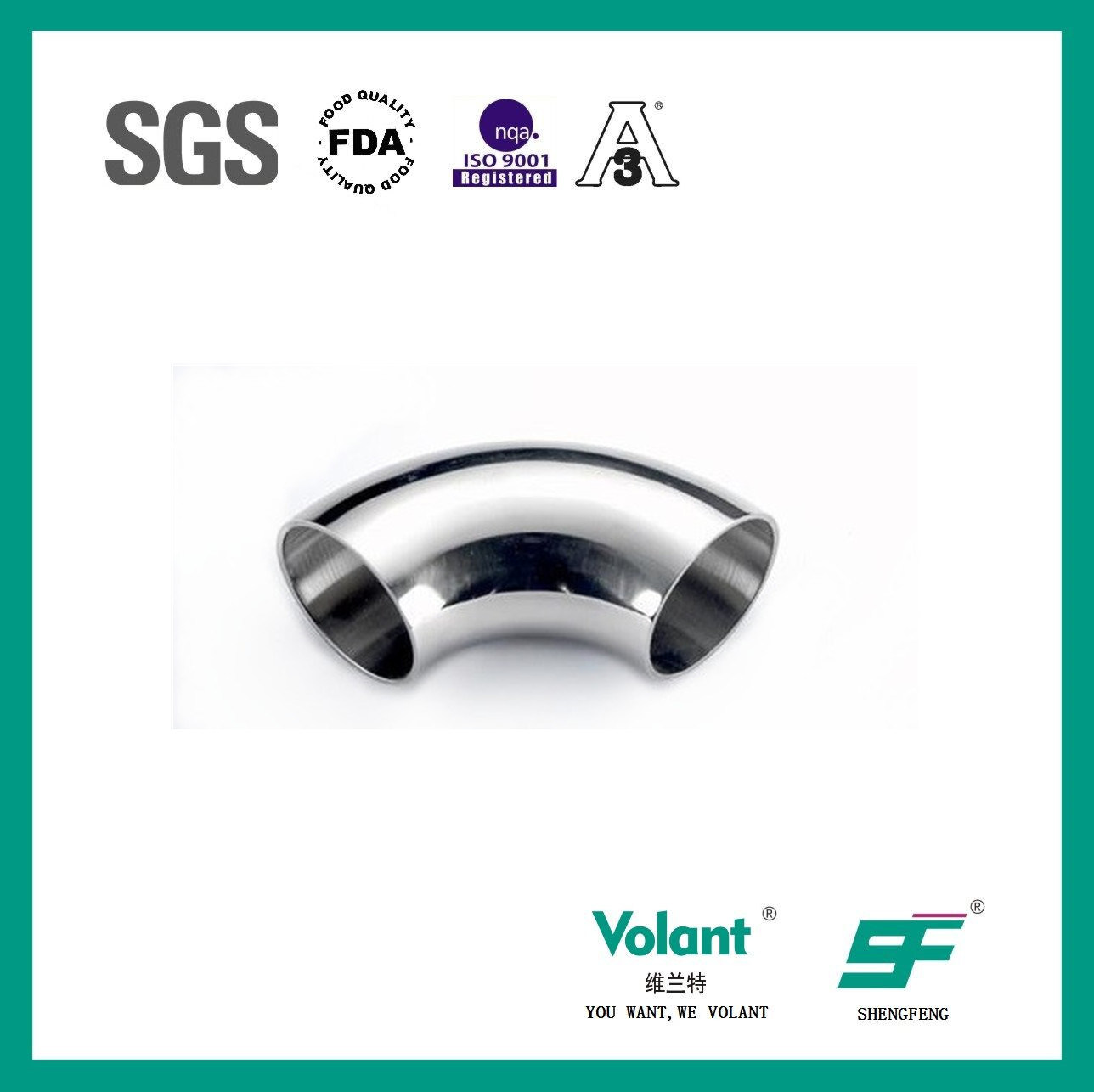Stainless Steel Sanitary 90d Welded Elbow About Pipe Sfx035