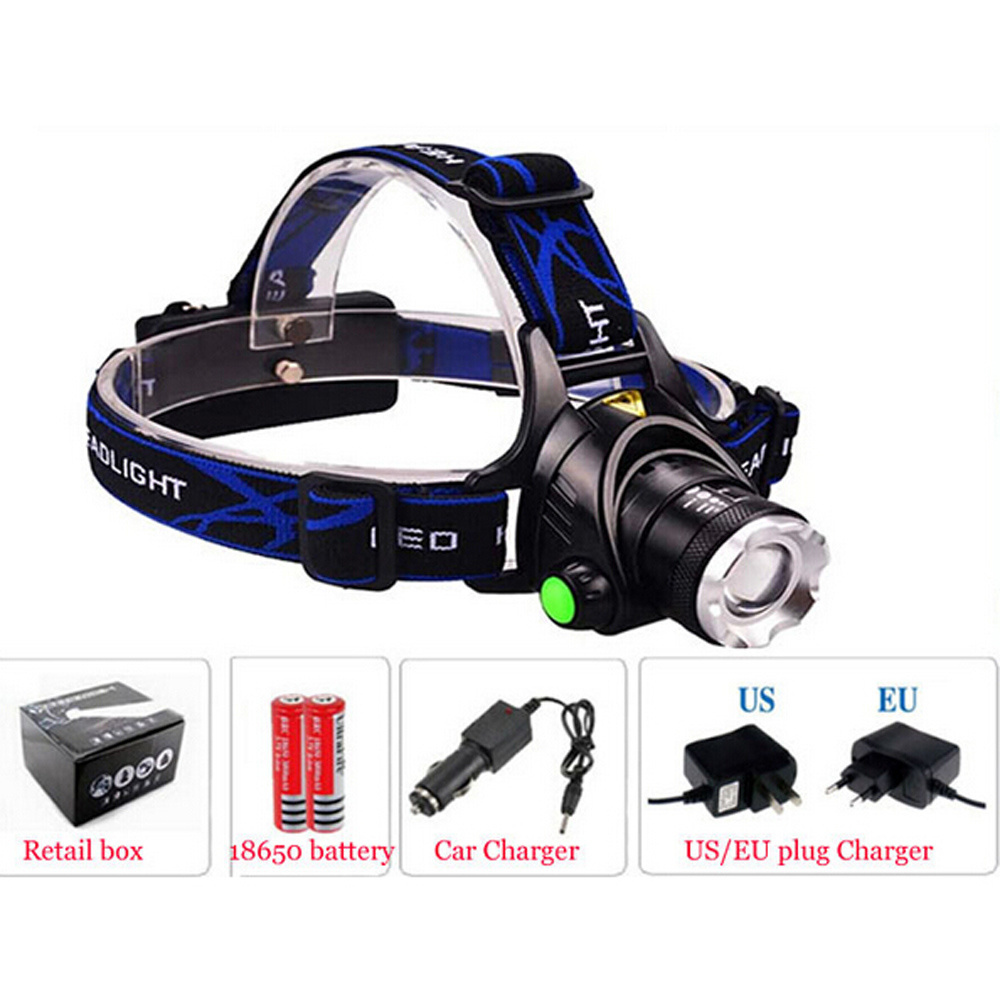 Rechargeable CREE T6 Hunting Bike Riding 2000lm Zoom LED Headlamp