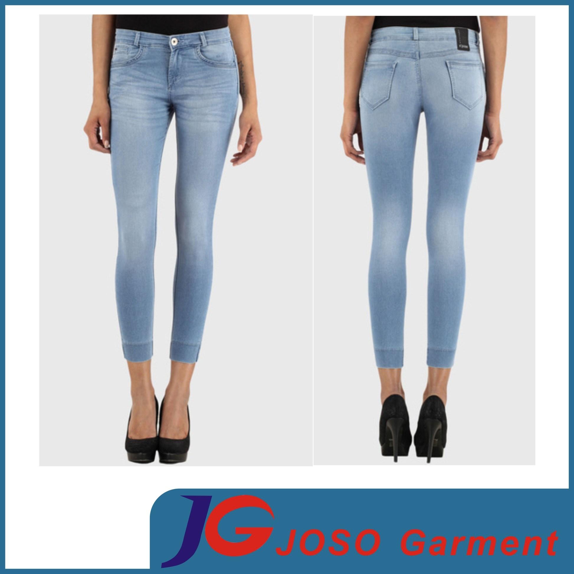 Blue Skinny Cropped Jeans Lady Jeans Pants (JC1365)