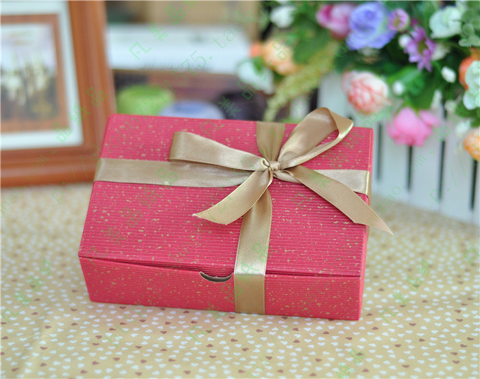 High End Paper Cardboard Cookies Packing Gift Box with Ribbon