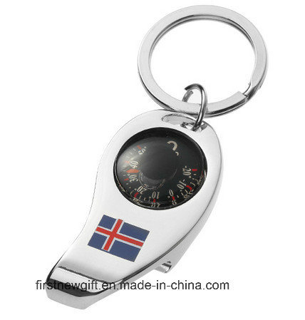 Promotional Gift Laser Logo Oval Key Ring Metal Keychain (F1368)