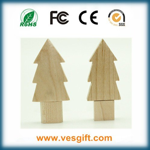 Wood Tree Shape Nice New Year Gift USB Flash Memory