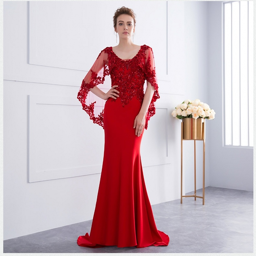 Shawl Mother Formal Gown Mermaid Lace Spandex Red Pink Evening Party Dresses E13171