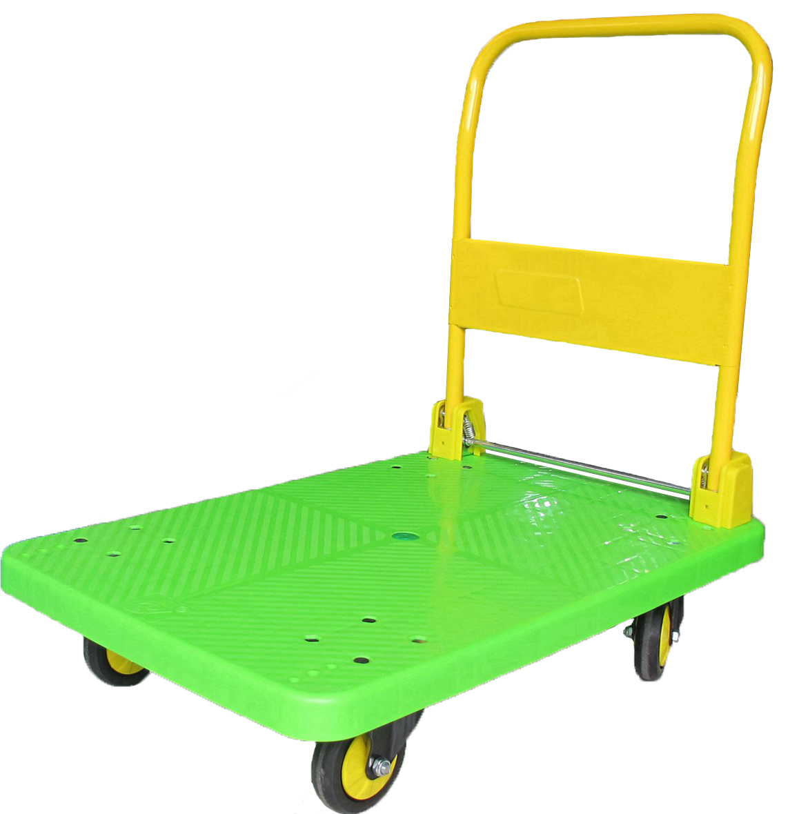 300kg Fashion Green Platform Handcart Noiseless Plastic Trolley
