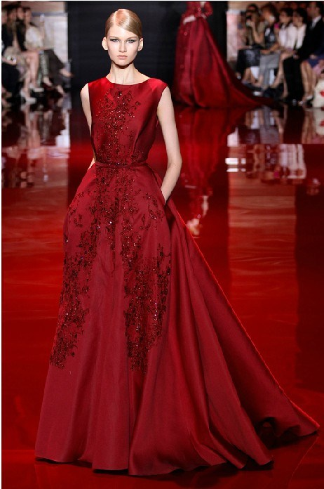 Customized Prom Party Gowns Wine Beading Evening Dress Es01