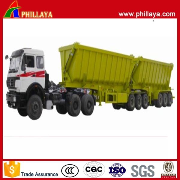 Diesel Fuel Type Dump Truck Hydrualic Cylinder Semi Trailer Double-B Side and Rear Tipper