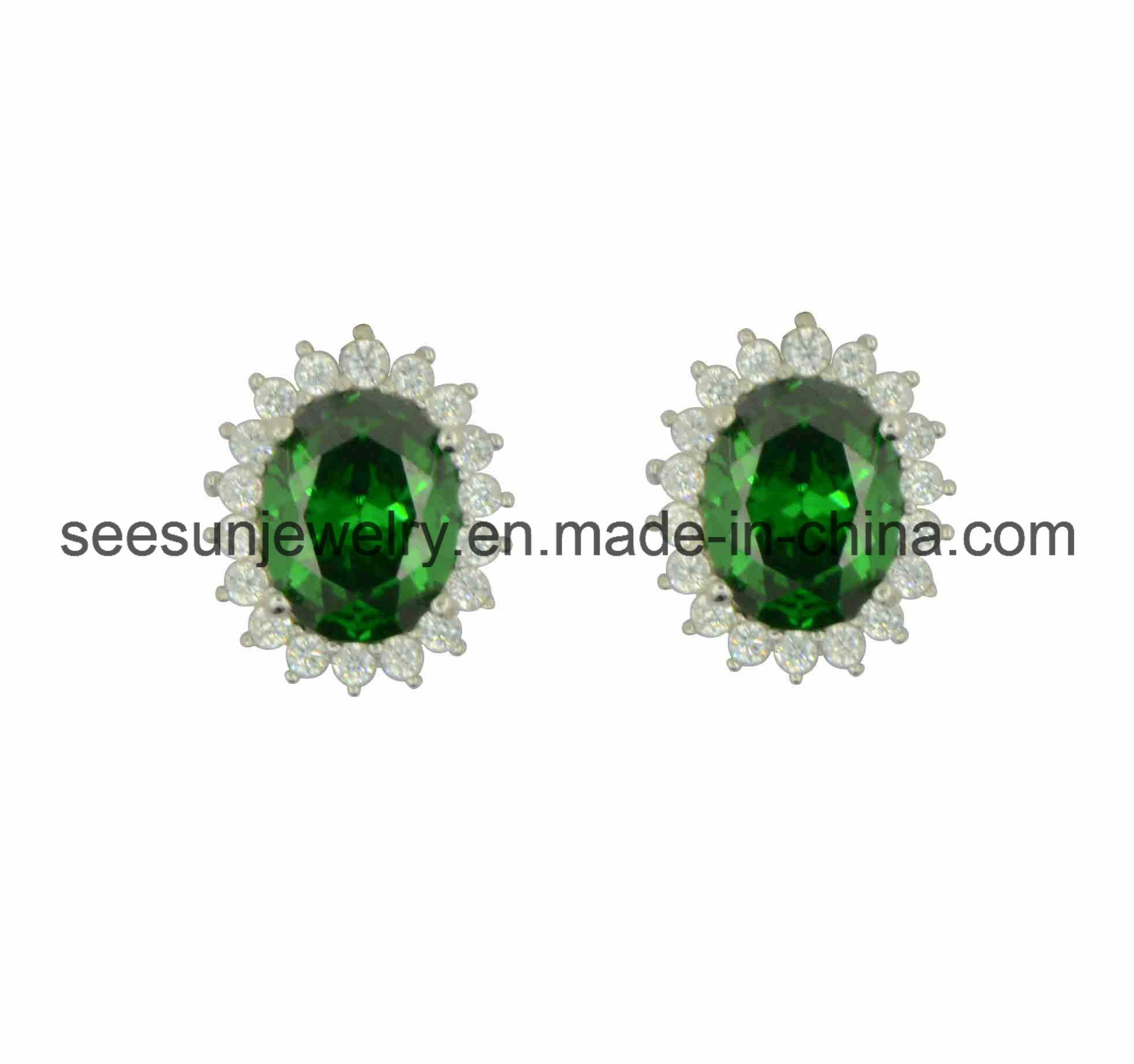 925 Silver Hotsale Earring with Emerald Green CZ for Women