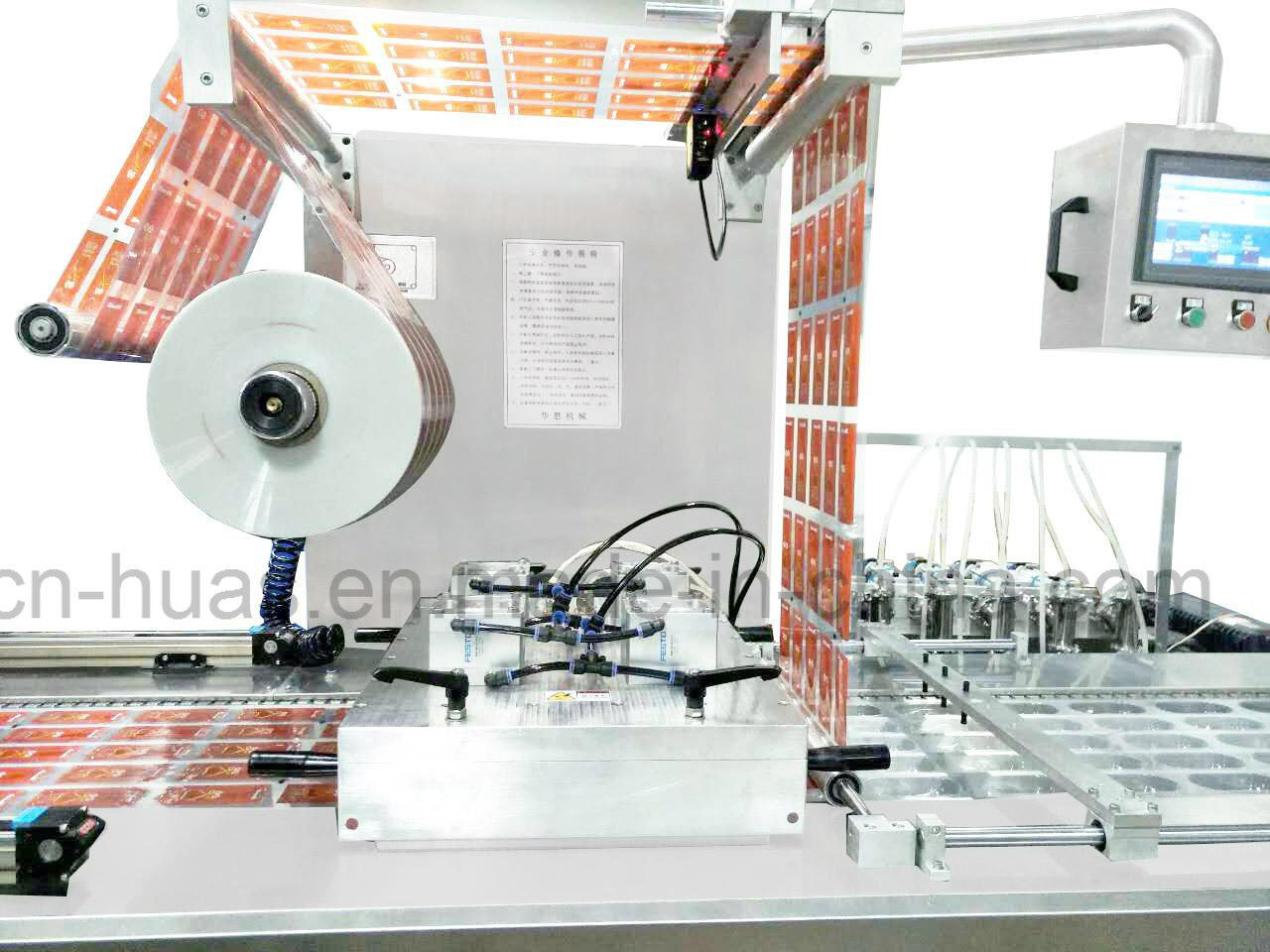 Automatic Stretch Film Thermoforming Vacuum Packing Machine for Cakes