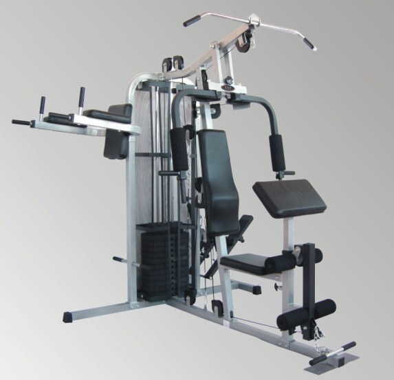 Home gym with weight stack