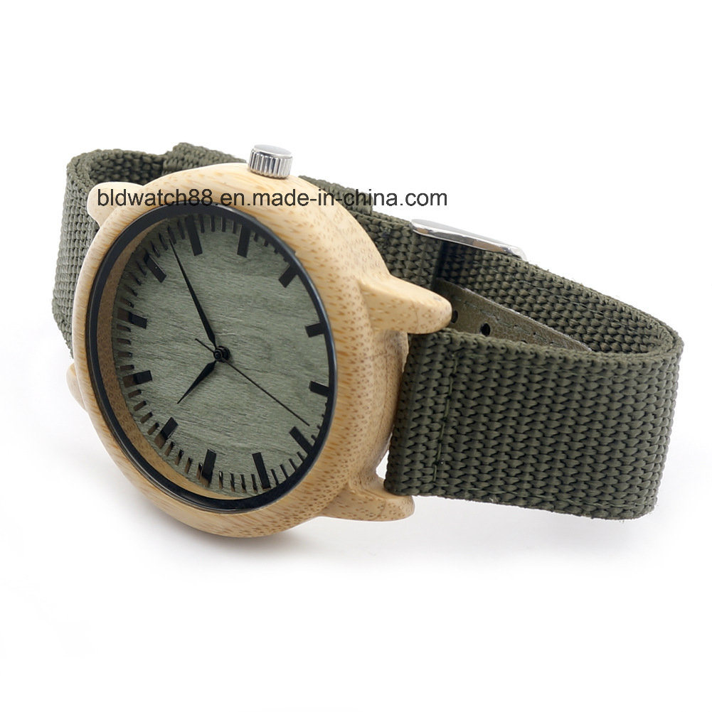 Sports Nato Nylon Band Wood Watch with Japan Quartz Movement
