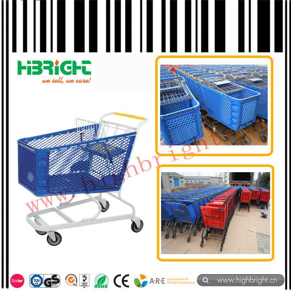 Powder Coating Plastic Shopping Trolley Cart for Supermarket