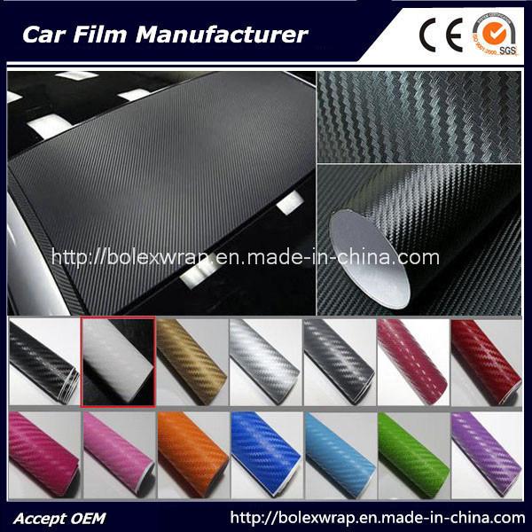 3D Carbon Fiber Vinyl Car Wrap/ Car Sticker 1.52X30m with Air Free Bubble