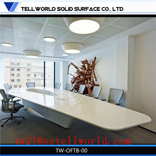 12 Seater Fancy Modern Style Office Furniture Special Rectangular Famous Latest Design White Square Big Divided Stone Commercial Conference Table